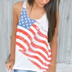 New chiffon American flag top size medium